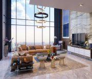 Mẫu thiết kế phòng khách cho căn hộ Duplex vô cùng sang trọng và hiện đại.