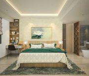 Phòng ngủ master luôn được ưu tiên tích hợp thêm một số tiện ích cho cuộc sống, cũng như nội thất tiện nghi, hiện đại nhất.